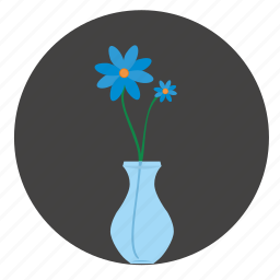 blue, bud, flower, glass, round, vase icon