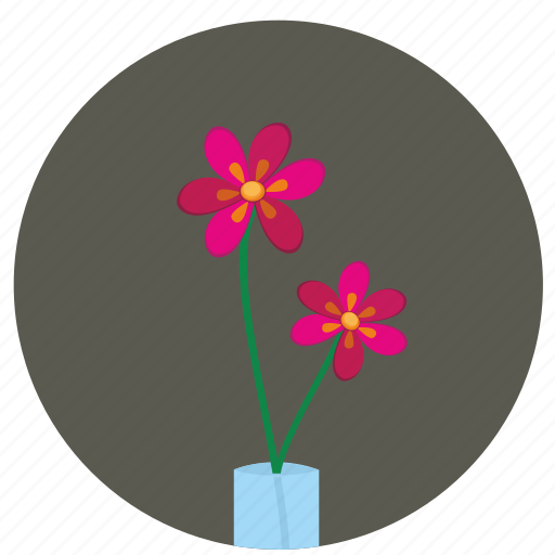 bud, flower, red, round icon