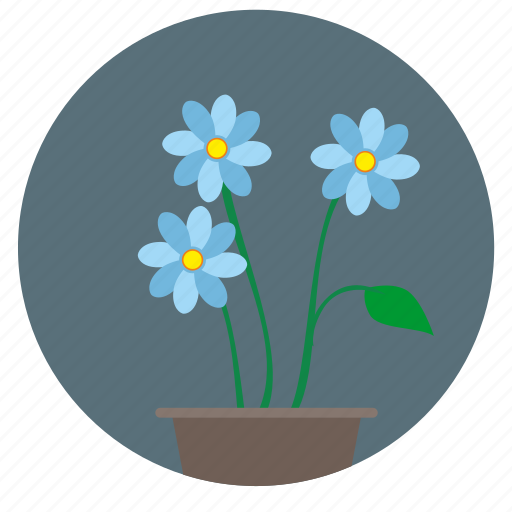 blue, bud, plant, round icon