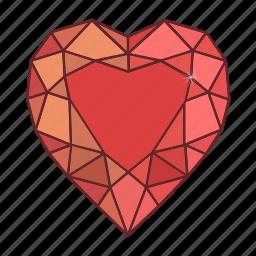 colored, gems, heart, jewel, precions, stone icon