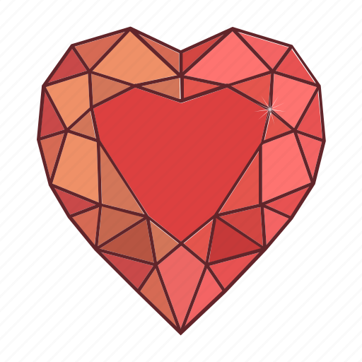 colored, gems, heart, jewel, precions, stone icon