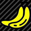 bananas, food, fresh, fruit, pair, ripe, yellow icon