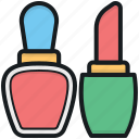 beauty care, cosmetics, lipstick, makeup, nail polish icon