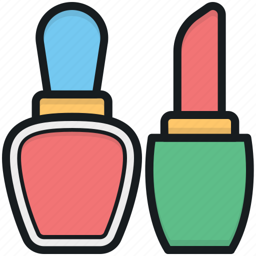 beauty care, cosmetics, lipstick, makeup, nail polish icon