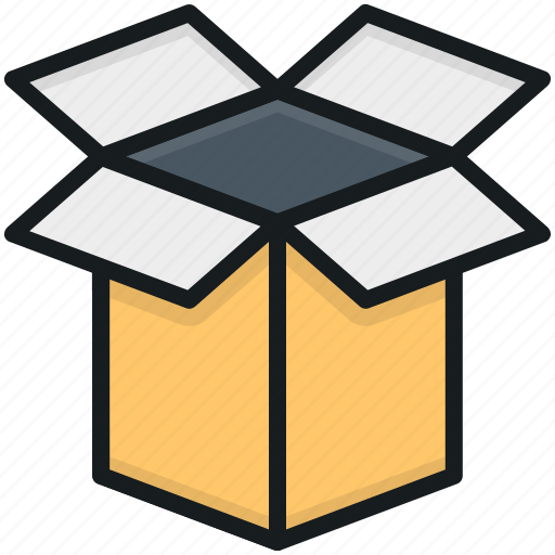 cardboard box, delivery box, open box, package, parcel icon