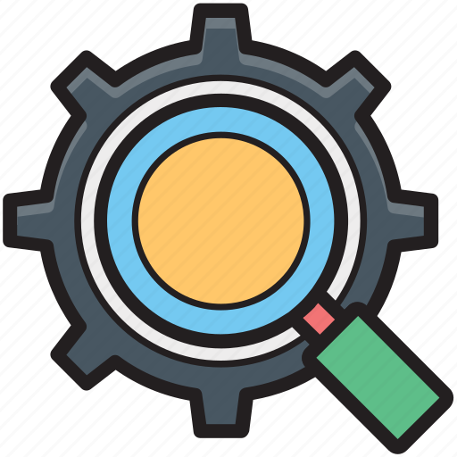 cog, gear, magnifier, search options, search settings icon