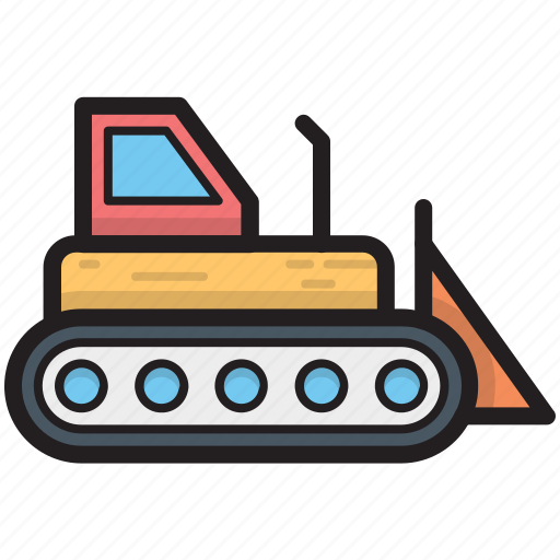 bulldozer, cat bulldozer, crawler, excavator, heavy machinery icon