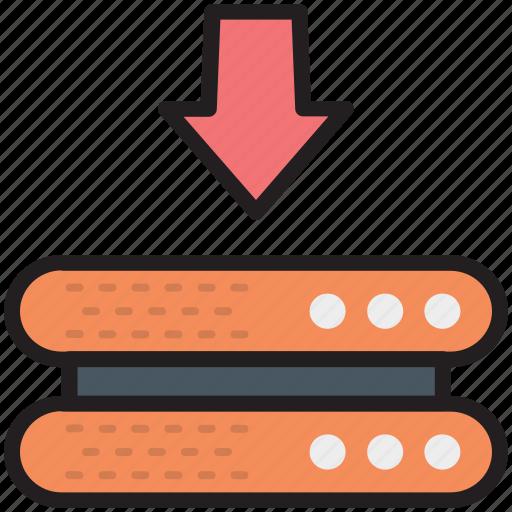 database, downloading arrow, internet server, server downloading, server rack icon