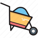 barrow, cart, garden trolley, hand truck, wheelbarrow icon