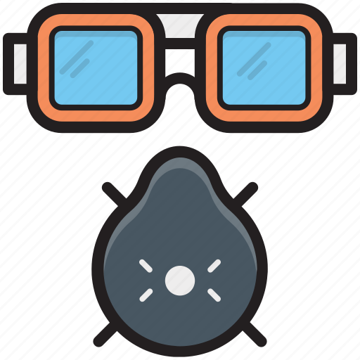 danger, gas mask, respirator mask, safety glasses, safety mask icon