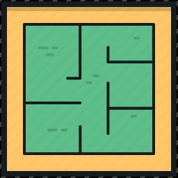 architecture, blueprint, construction map, document, house plan icon