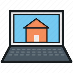 laptop, laptop screen, online property, online real estate, property app icon
