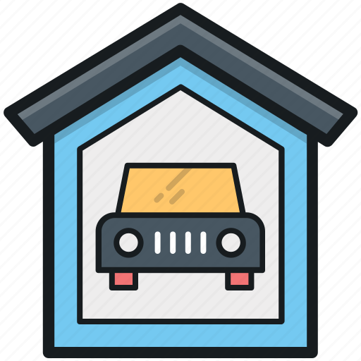 car garage, car parking, car porch, garage, garage service icon