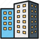 building, city building, flats, housing society, office block icon