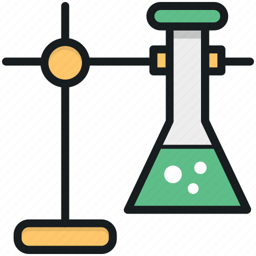flask, flask stand, lab experiment, lab research, laboratory icon
