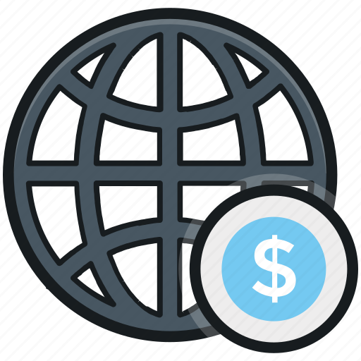 dollar, global marketing, globe, map, planet icon