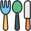 cutlery, fork, knife, spoon, utensils