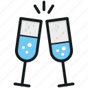 champagne glasses, cheers, party, toasting, wine glasses icon
