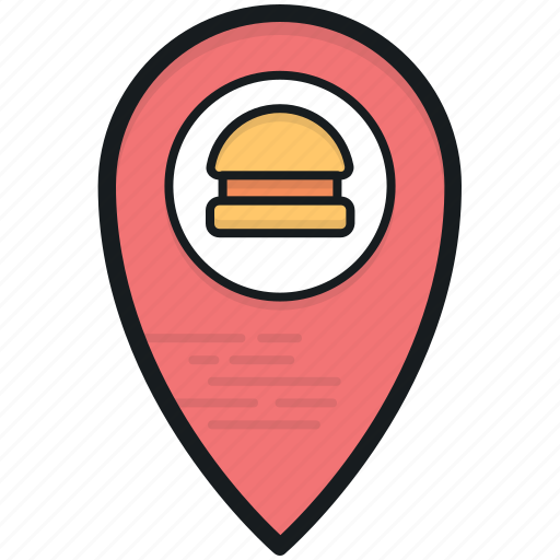 burger market, burger shop, cafe location, fast food, map pin icon