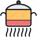 cooking, cooking pot, cookware, meal preparation, pot on fire icon