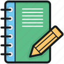 notebook, notepad, notes, pencil, writing pad icon