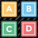abc block, alphabet blocks, basic english, early education, kindergarten icon