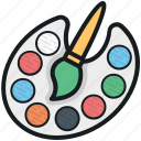 artist, paint brush, paint palette, painter, painting icon