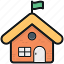 building, cottage, hut, primary school, school icon