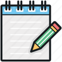 article writing, notepad, notes, pencil, writing pad icon