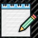 article writing, notepad, notes, pencil, writing pad