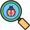 antivirus, bug searching, debugging, magnifier, scanning virus icon