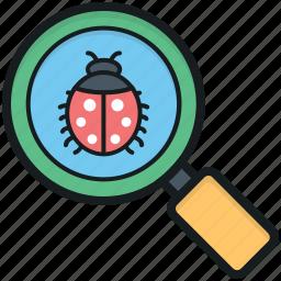 antivirus, bug searching, debugging, magnifier, scanning virus icon