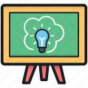 blackboard, easel, science class, science presentation, whiteboard icon