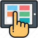 hand gesture, ipad, tablet, technology, touch screen icon