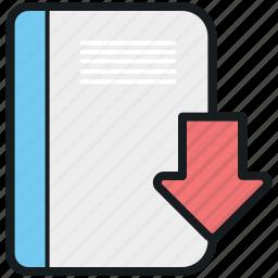 book, downloading arrow, ebook, ebook download, online ebook icon
