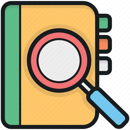 magnifier, magnifying glass, notebook, searching book, searching ebook icon