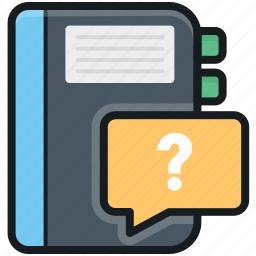 chat bubble, faq book, notebook, question mark, unknown book icon