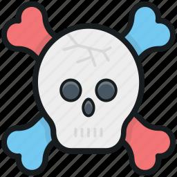 be aware, bones, danger, skeleton, skull icon