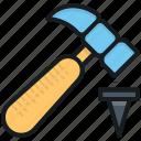 hammer, hammer hit, hammer tool, hand tool, nail hammer icon