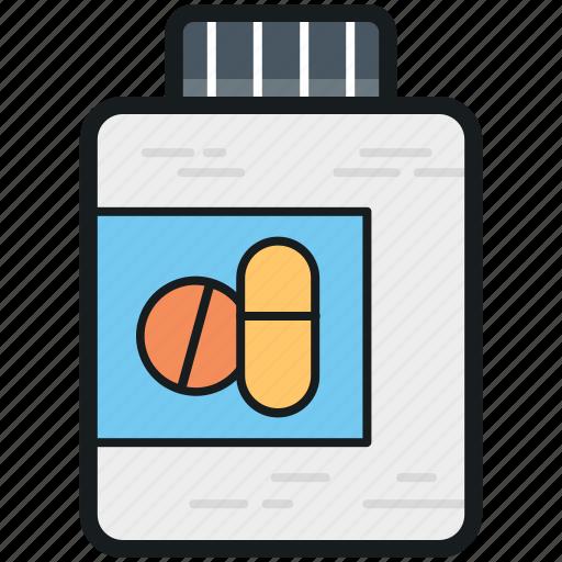 drugs, medication, medicine bottle, medicine jar, pills icon