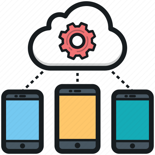 cloud connected mobiles, devices connected, mobile app development, mobile marketing, mobiles connected icon