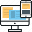 mobile, monitor, responsive web, web design, web template icon