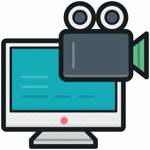 monitor, movie camera, online chatting, video camera, video chat icon