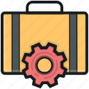 briefcase, cog, repair tools, tools box, tools kit icon