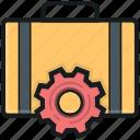 briefcase, cog, repair tools, tools box, tools kit