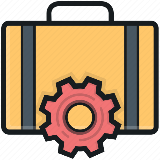 briefcase, cog, repair tools, tools box, tools kit icon