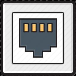 internet outlet, internet plug, internet socket, lan port, lan socket icon