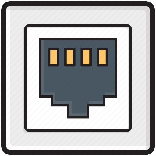 internet outlet, internet plug, internet socket, lan port, lan socket icon