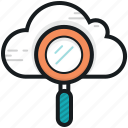 cloud magnifying, cloud search, internet exploring, magnifier, online search icon