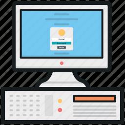 computer, computer login, desktop computer, desktop pc, personal computer icon